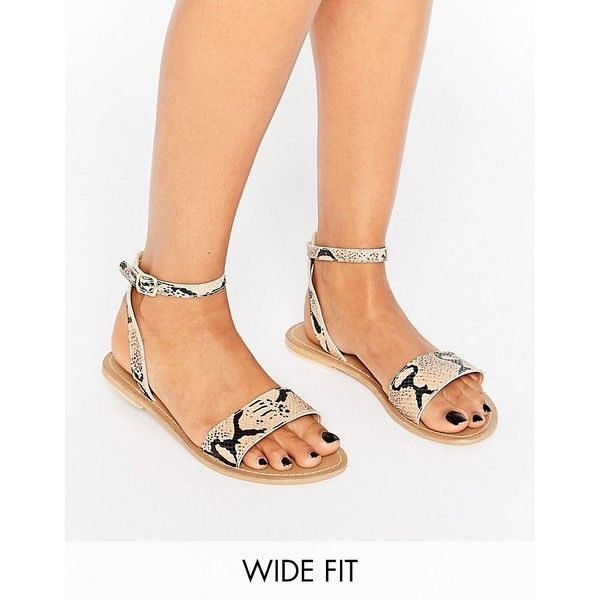 1a0de5229feebb ASOS FLIQUE Wide Fit Leather Flat Sandals ( 24) ❤ liked on Polyvore  featuring shoes