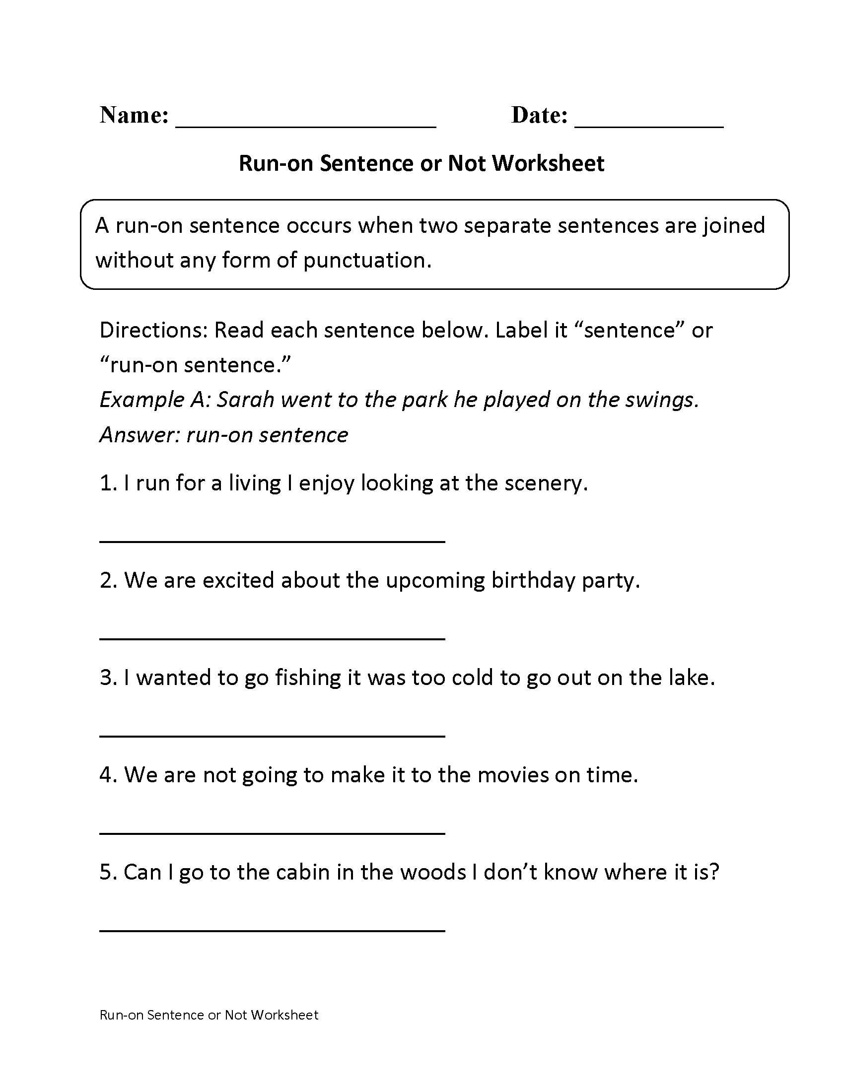 Run On Sentences Or Not Worksheet