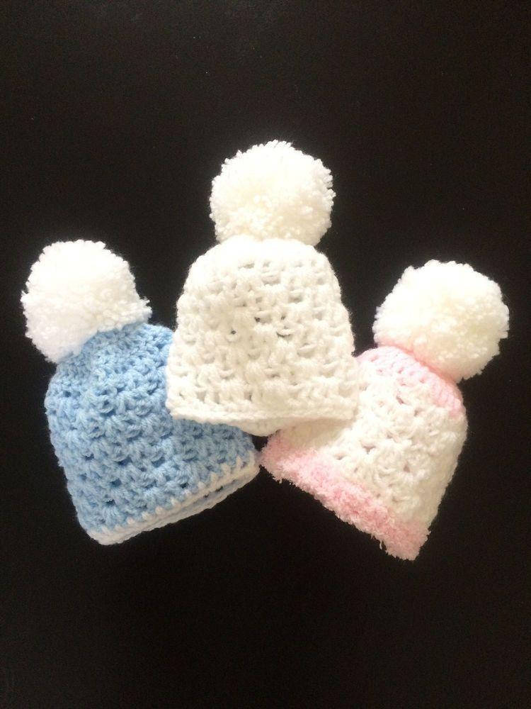 e2fe10fe7c4 Hand Crochet Baby Bobble Hat Pom Pom Winter 0-3 Months Blue Pink White Boy