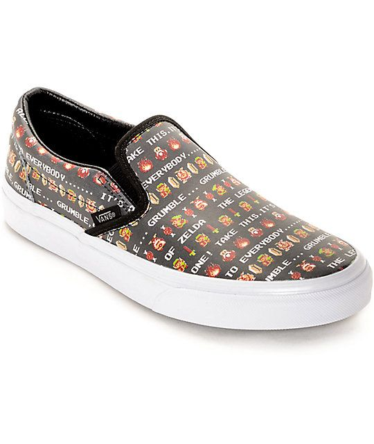 f976f6b0968813 Vans x Nintendo Leather Slip On Zelda Shoes in 2019