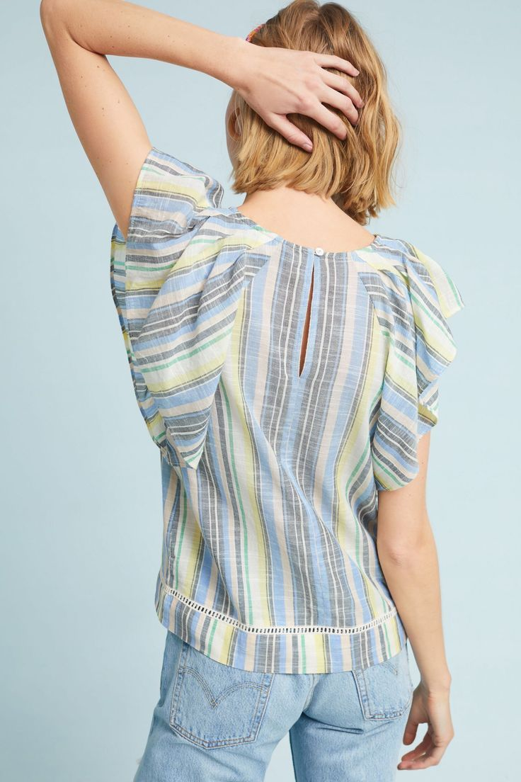 Slide View 4 Blair Striped Flutter Top We are want to