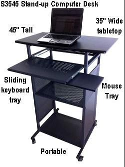 35 Inch Wide Stand Up Computer Desk Portable Black 100 Steel Shelves Frames With Mdf Wood Tabletop Covered In Pv Computer Desk Desk Wooden Computer Desks