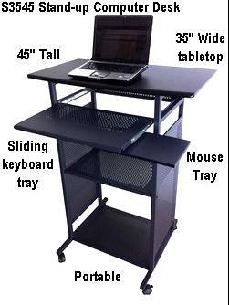 35 Inch Wide Stand Up Computer Desk Portable Black 100 Steel Shelves