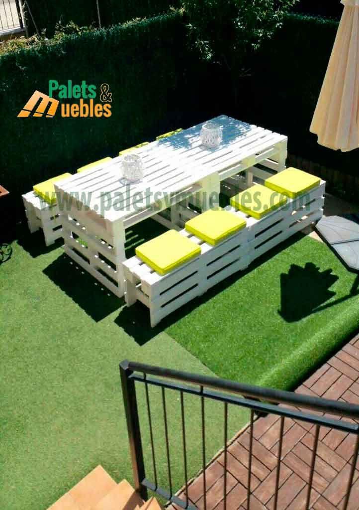 Mesa y banco con palets estos muebles hechos con palets - Muebles de jardin hechos con palets ...