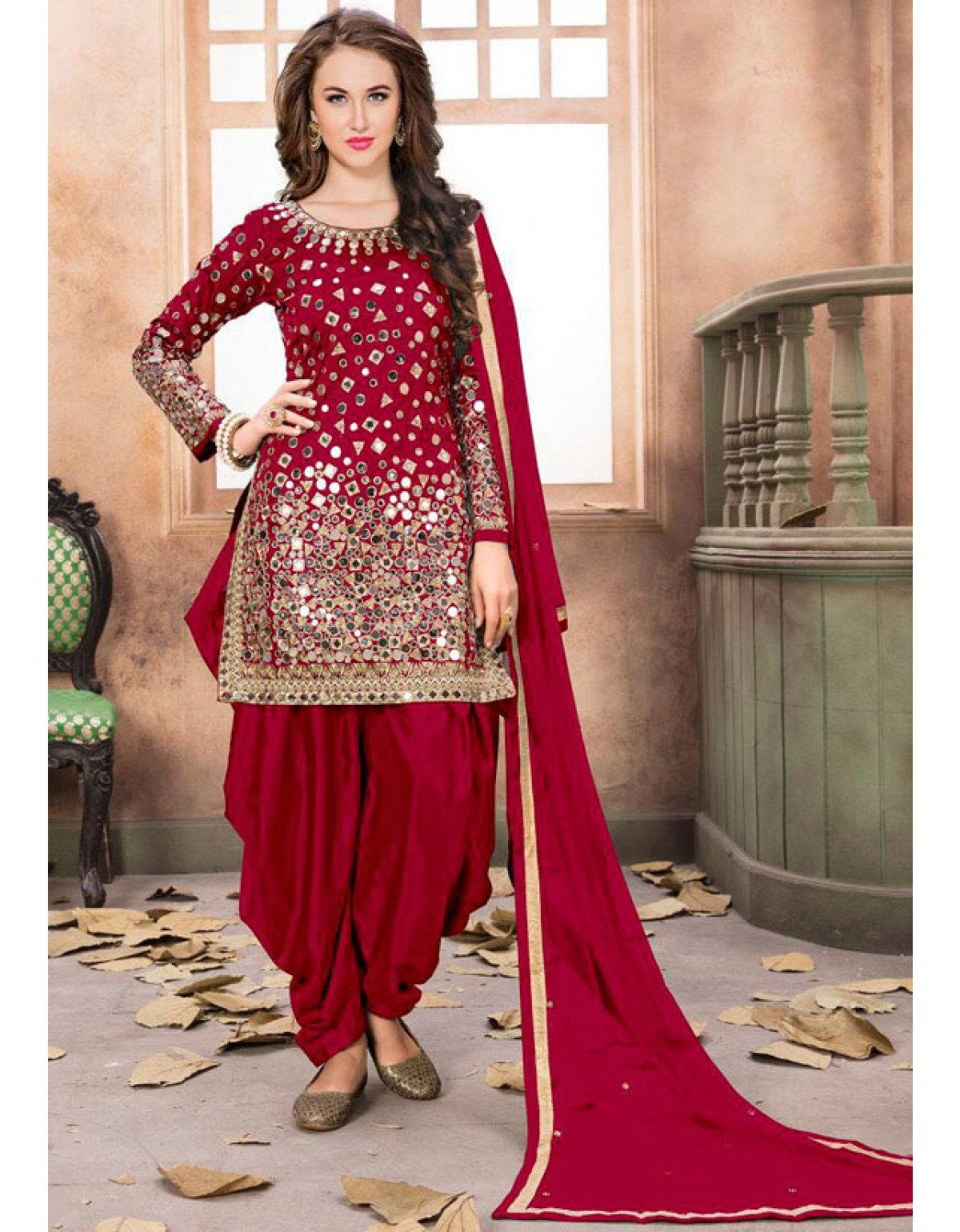 1efce53dfb Cherry Red Mirror Work Patiala Suit in 2019 | Mom and daughter ...