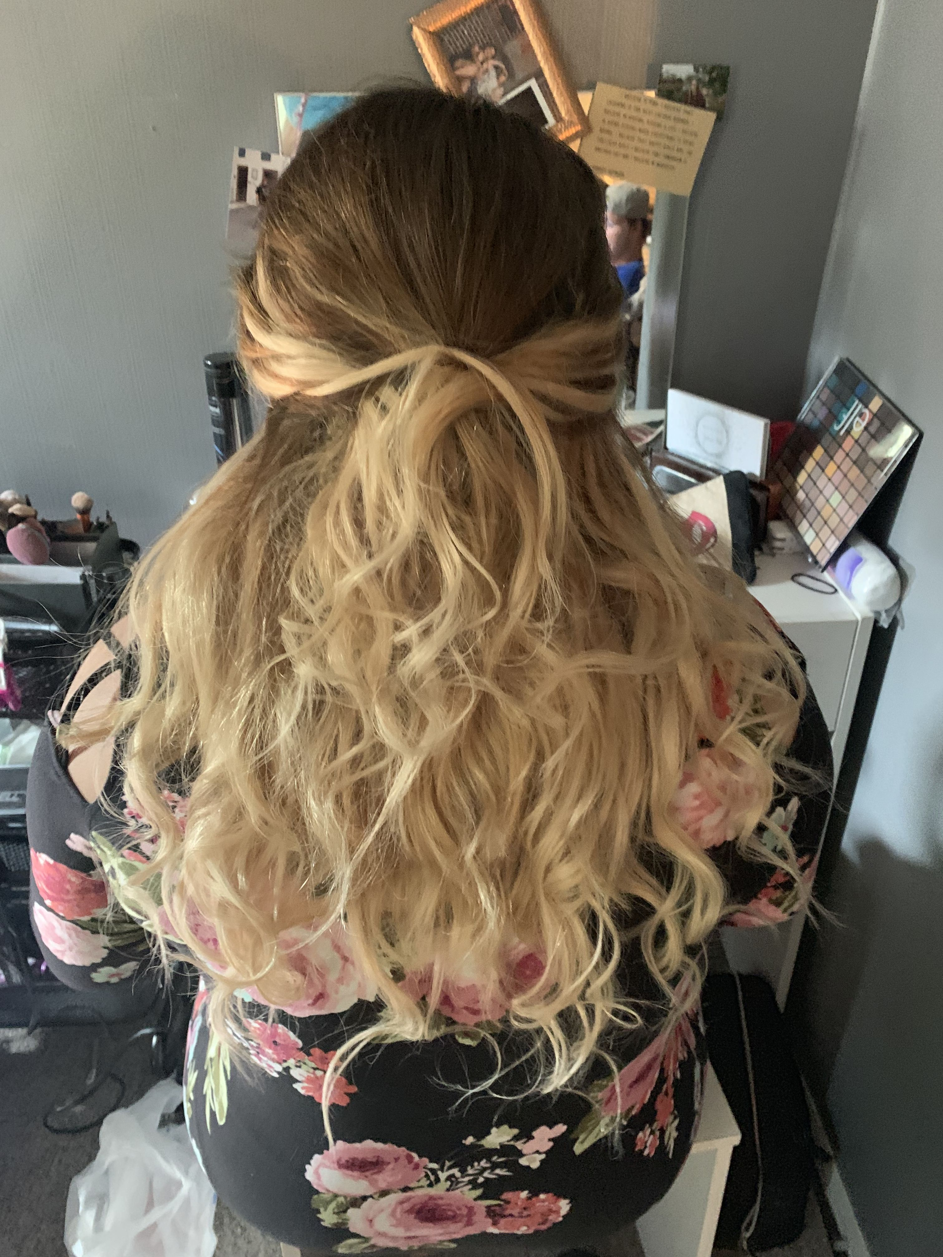Half up and half down with extensions wedding