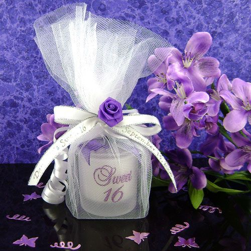 Sweet 16 Candle With Purple Glitter Is Wrapped In