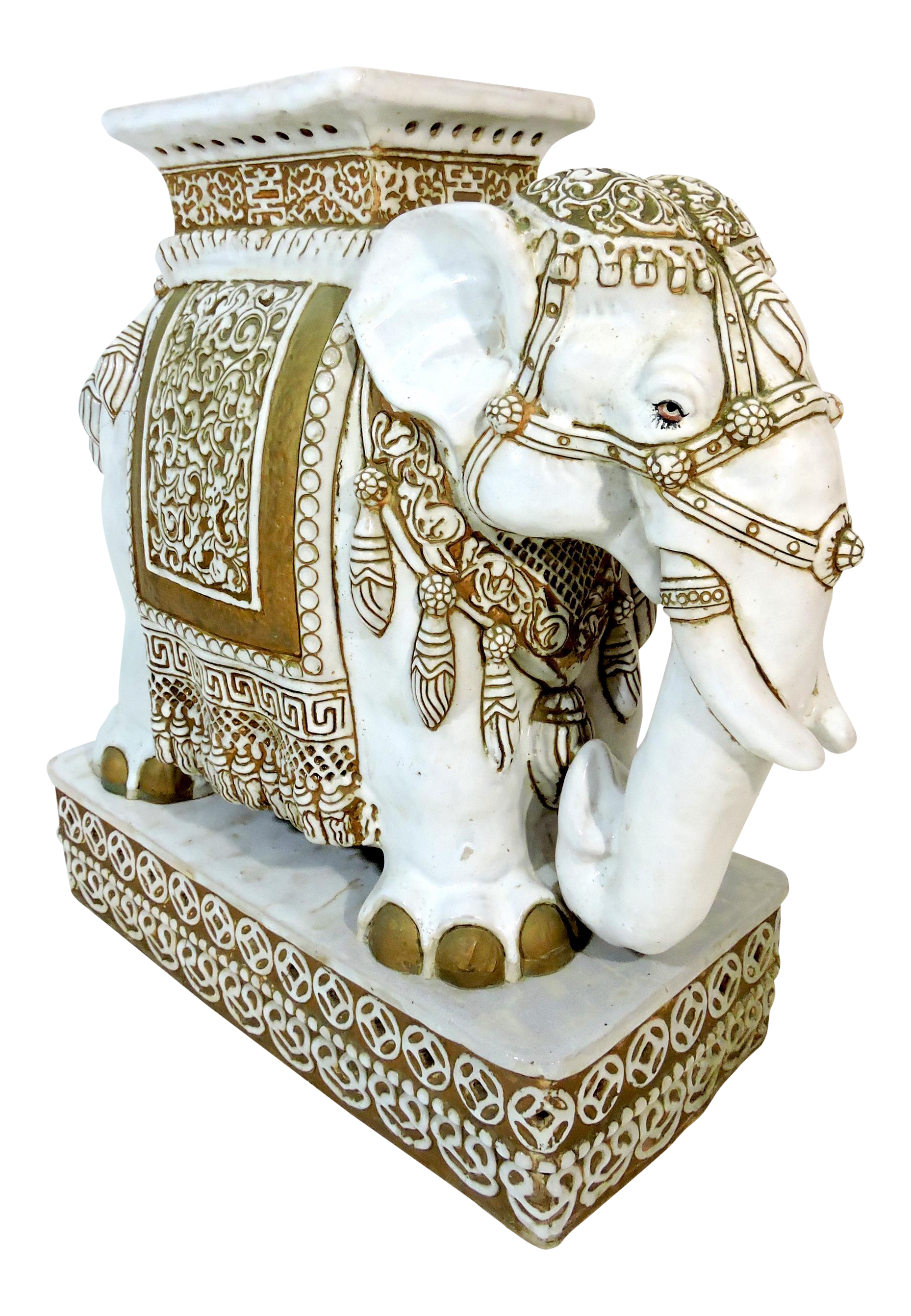 Vintage White And Gold Ceramic Elephant Garden Stool