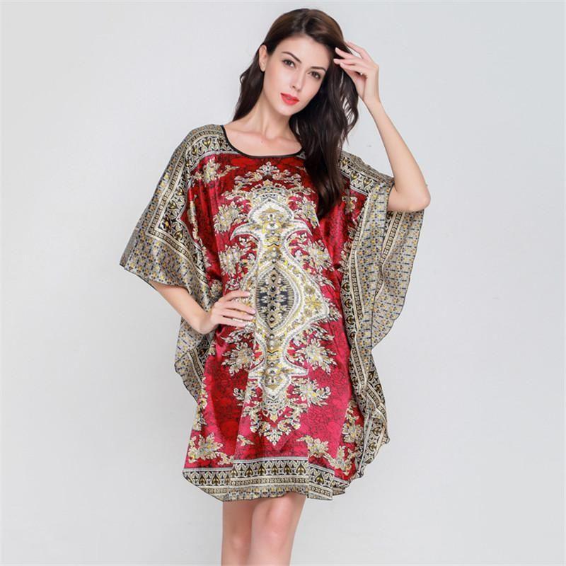 2b74394c68 Print Flower Ladies  Faux Silk Nightgown Women Summer New Style Sexy  Spaghetti Strap Nightdress Sleepwear Robe One Size NG007