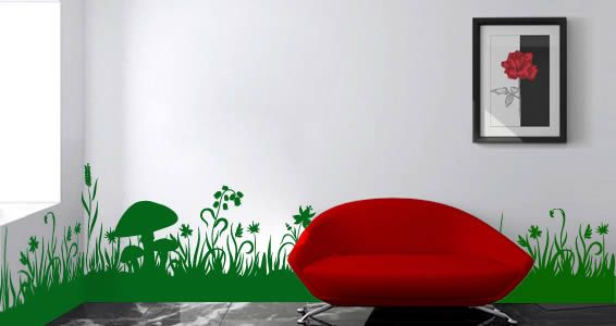 Awesome Grass Border Maybe Have Bunnies Jumping Through The - Vinyl wall decals borders