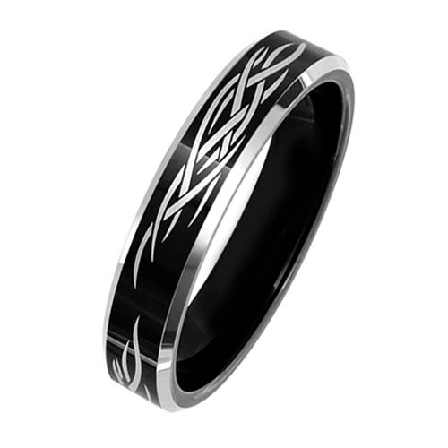 Tungsten Ring Direct - Black Tungsten Ring for Women, Wedding Band with Laser Tribal Design, High Polish, 6MM, $24.99 (http://www.tungstenringdirect.com/black-tungsten-ring-for-women-wedding-band-with-laser-tribal-design-high-polish-6mm/)