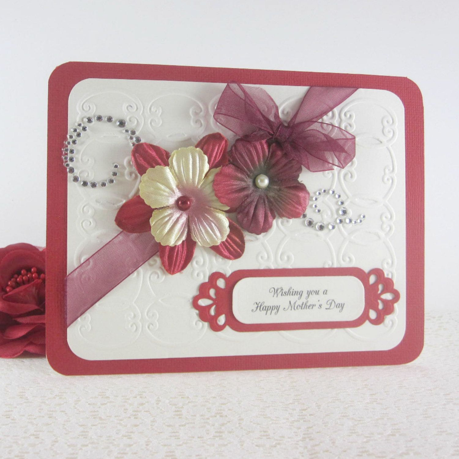 Mothers Day Card Handmade And Embossed Mothers Day Gift Card For