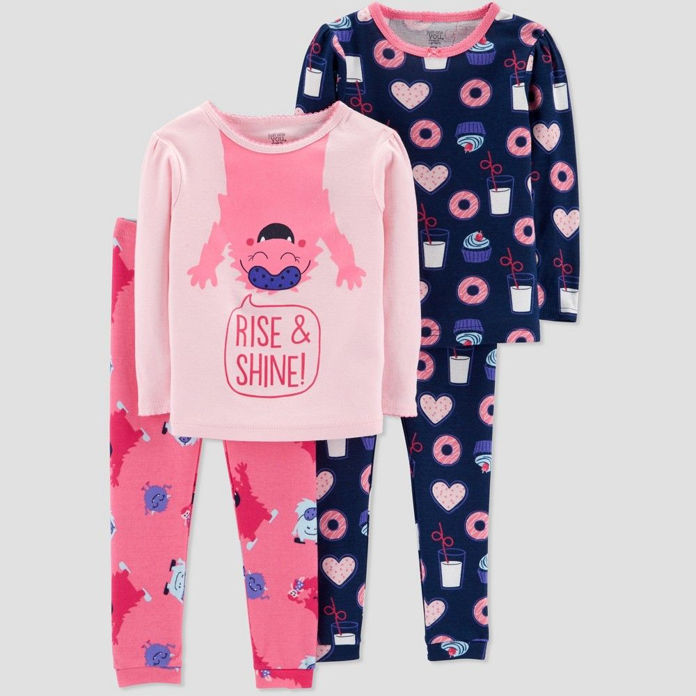 139161dd4 Baby Girls  4pc Monster Pajama Set - Just One You made by carter s ...