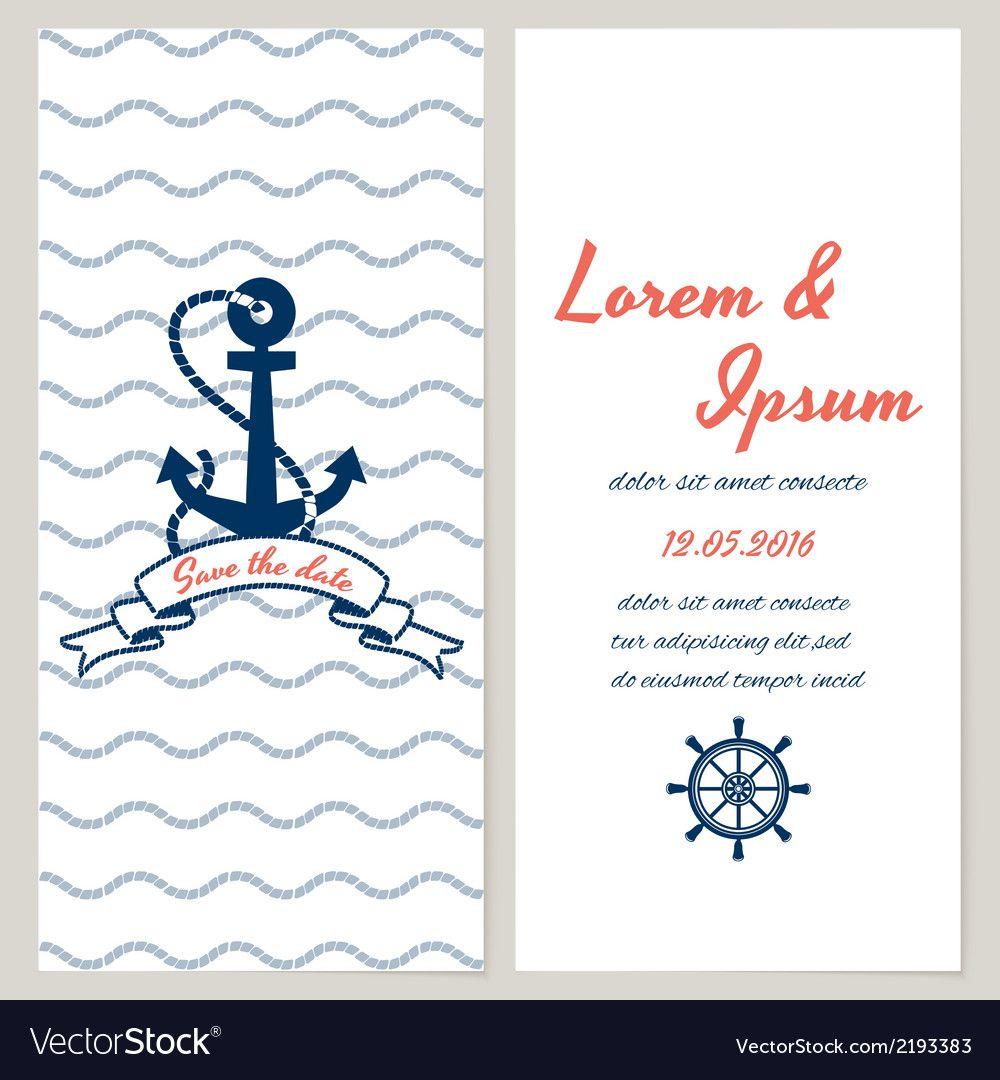 Nautical style wedding invitation vector image on