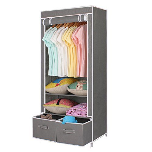 ASSICA Portable Cloth Wardrobe Closet Organizer With 2 Storage Box Drawers  Sturdy RustProof Stainless Steel Frame Nonwoven Fabric Rolling Door Grey ...