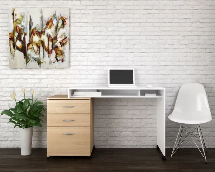 Bureau Filiere Mobile 3 Tiroirs Meubles Rd In 2020 White Paneling Home Home Office