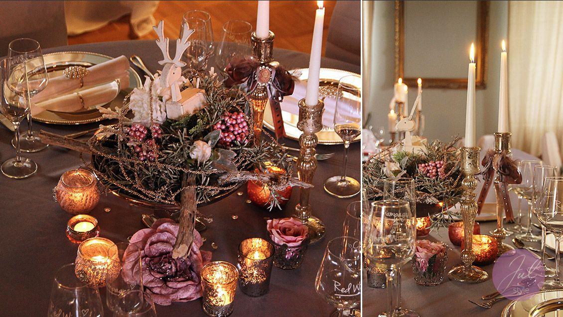 Sehr elegante tischdekoration f r weihnachten weihnachtsdekoration mieten - Elegante weihnachtsdeko ...