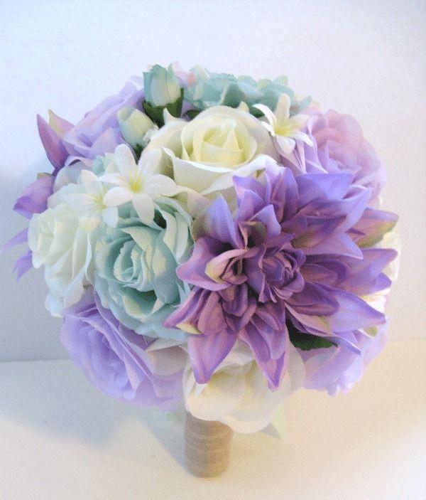 17 pc wedding bouquet bridal silk flowers lavender mint green cream 17 pc wedding bouquet bridal silk flowers lavender mint green cream centerpieces mightylinksfo Images