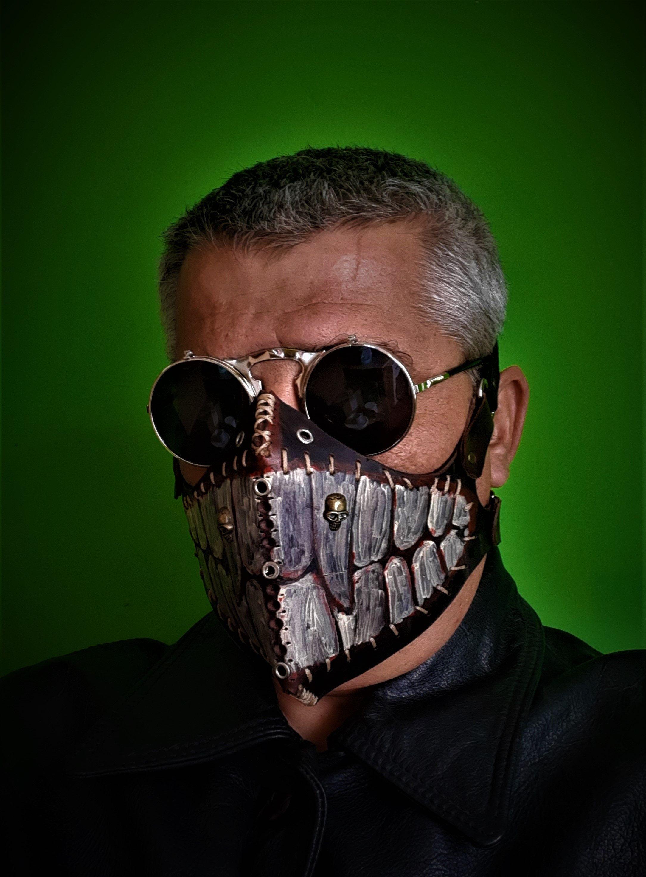 Dieselpunk Half Face Leather Mask Reusable Dust Mask Biker Mouth Mask 4 Rider Face Black Motorcycle Men Leather Face Mask Fashion Face Mask Steampunk Leather