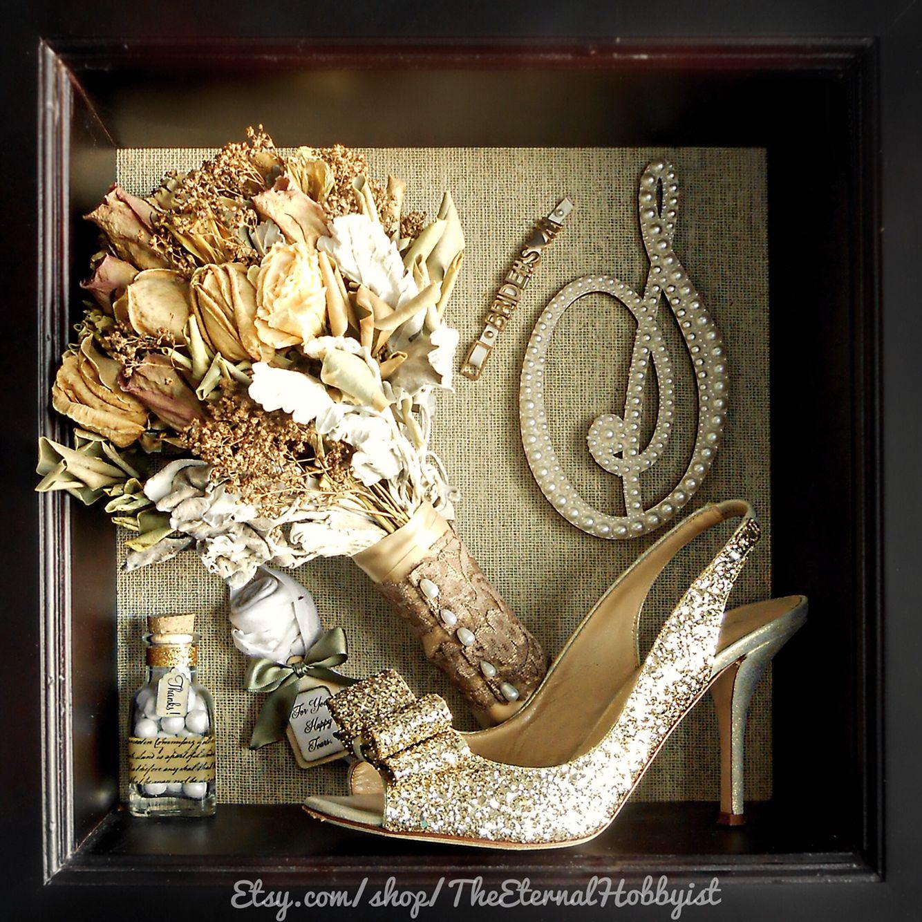 Wedding Trinkets Shadow Box Shoe, Cake Topper, Favors