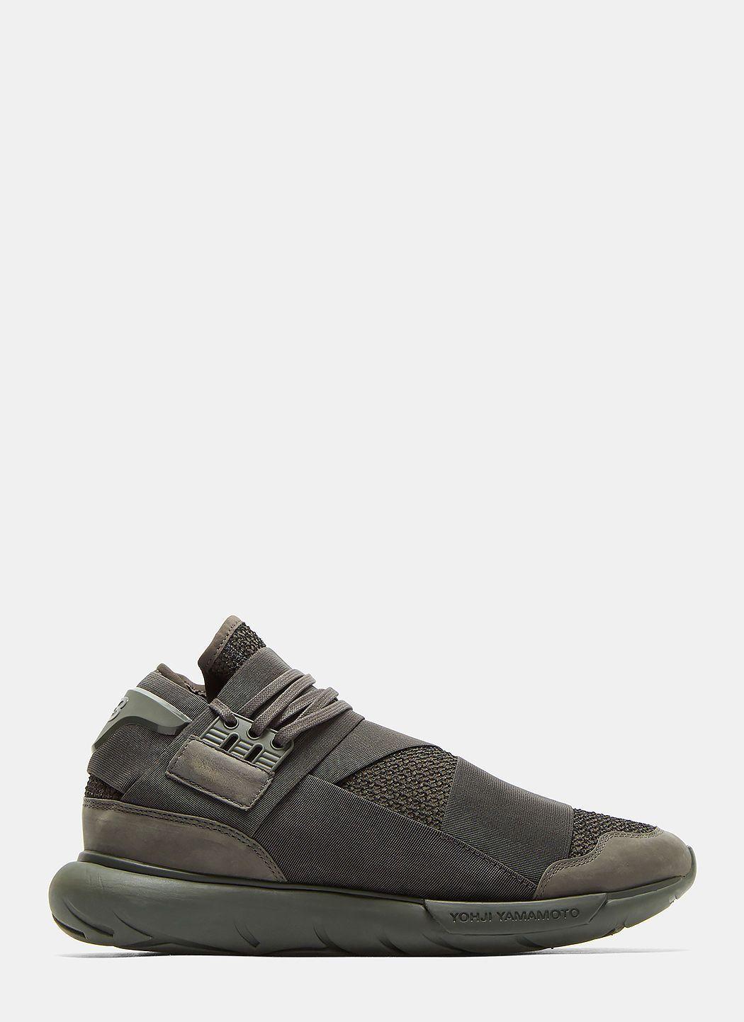 1d4286f5b637 Y-3 Qasa High Mesh Sneakers In Dark Khaki.  y-3  shoes