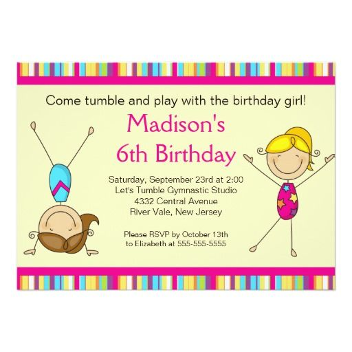 Fun Gymnastics Kids Birthday Party Invitation Kids birthday party - best of invitation birthday party text