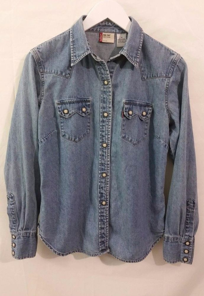 177e19031d Vintage Levi s Red Tab Denim Long Sleeve Pearl Snap Western Shirt Medium  Womens  Levis  ButtonFront