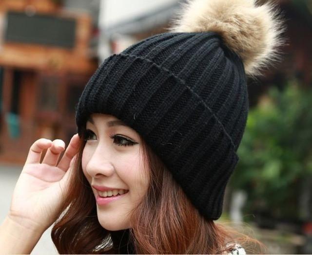 2017 Women Faux Rabbit Fur Hats Fashion Winter Beanies Female Knitted Warm Caps For Women Brand Pompon Hat Crochet Casual Cap