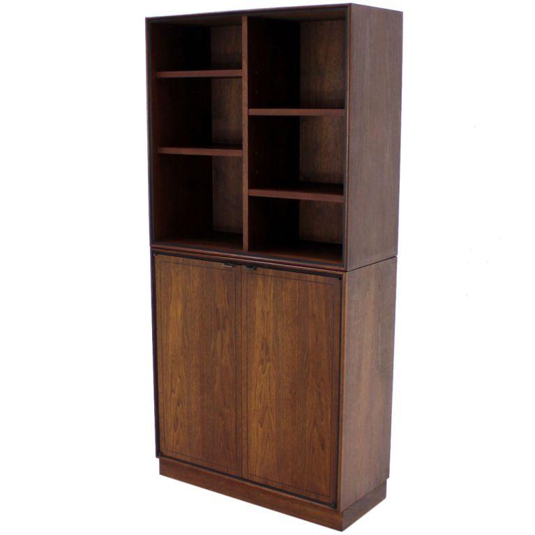 Danish Mid Century Modern Walnut 2 Part Storage Cabinet Bookcase ...