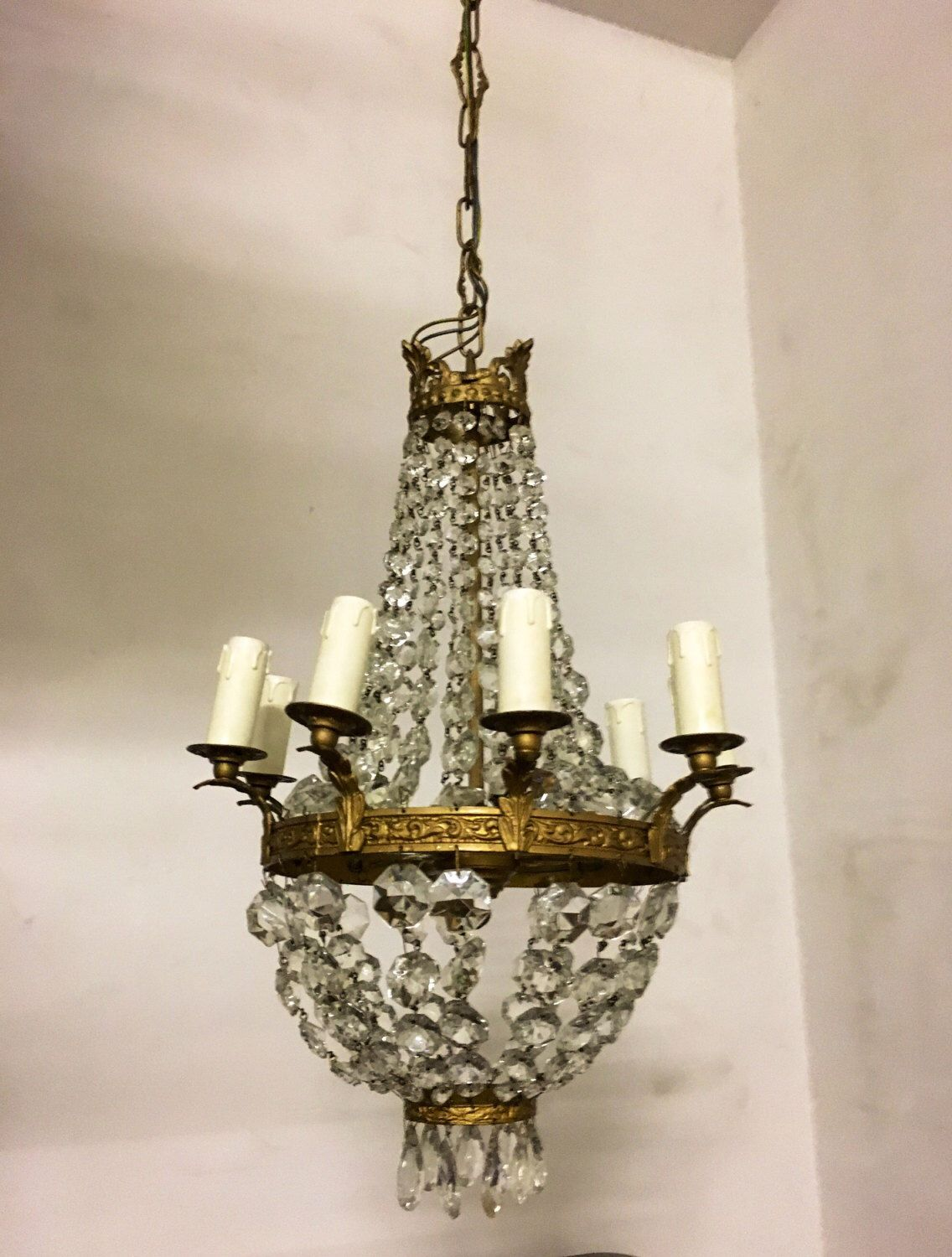 Crystal chandelier vintage empire chandelier shabby chic bronze vintage crystal chandelier etsy shop crystal chandelier vintage empire chandelier shabby chic arubaitofo Images