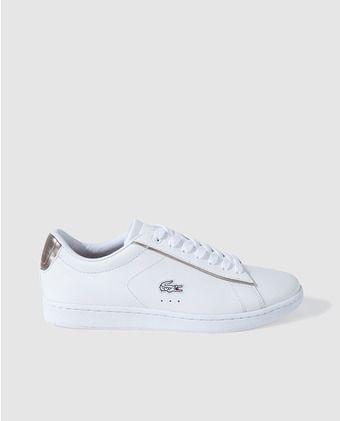 25c52a300d219 Zapatillas de piel de mujer Lacoste blancas con logo