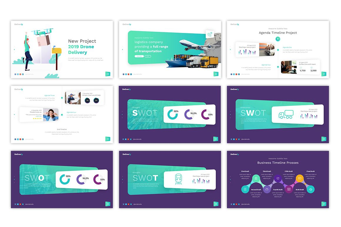 Deliverly Logistic Powerpoint Template 79098 Powerpoint Templates Powerpoint Infographic Powerpoint