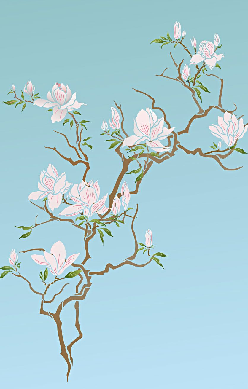 beautiful elegant magnolia flowers and tree theme pack stencil large 3 sheet 2 layer stencil with 11 flower bud and branch stencil motifs  [ 836 x 1312 Pixel ]