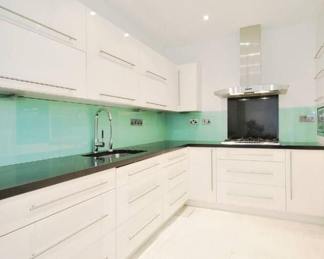 Photo Of Modern Mint Green Turquoise White Frosted Gl Kitchen With Splashback Cabinets