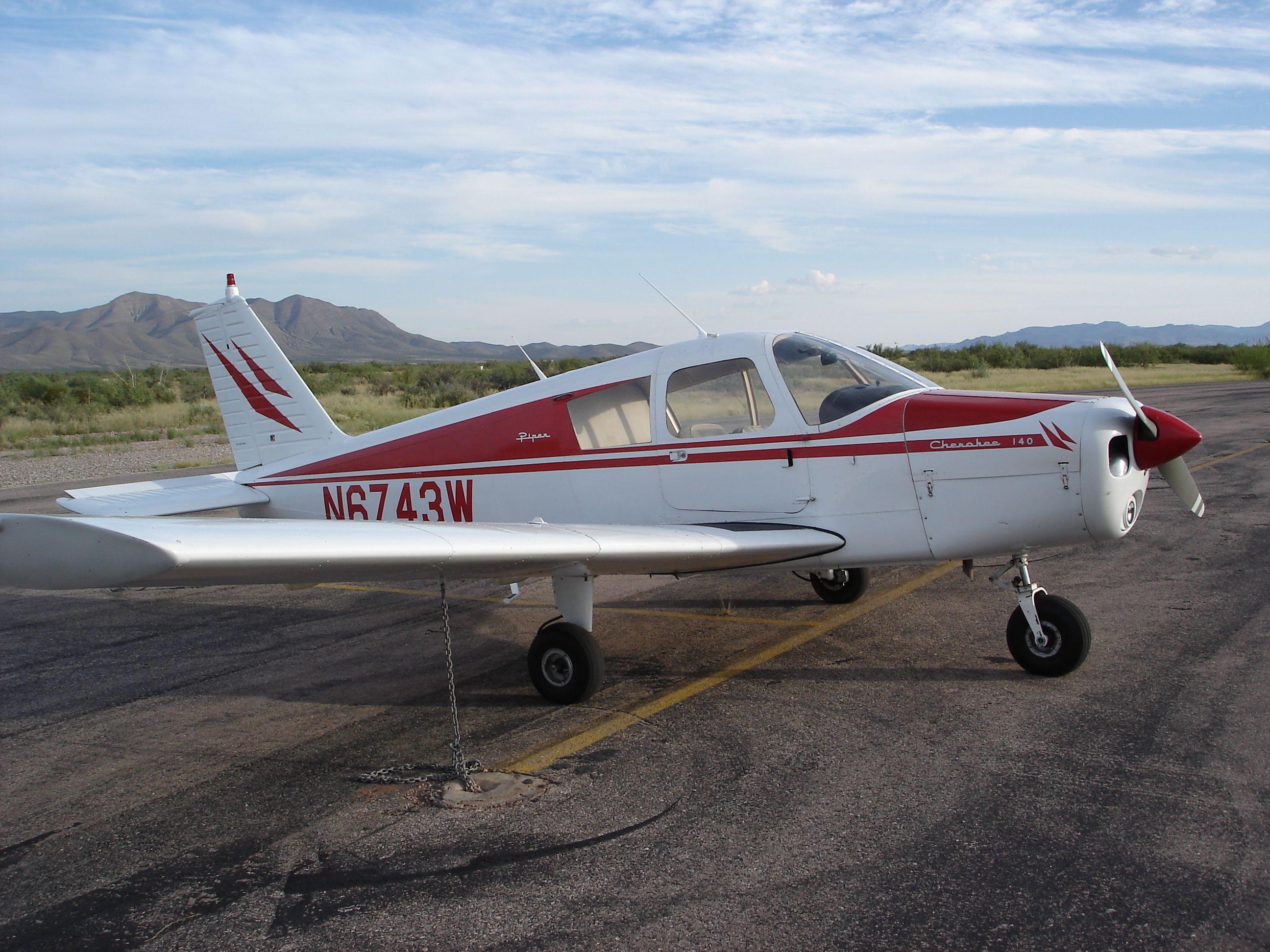 My Cherokee 140 waiting for me at Van Horn, Texas