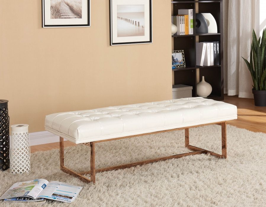 Awesome Gavin White Leather / Rose Gold Bench · Gavin Ou0027connorFurniture ...