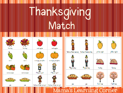 Thanksgiving Match Game Filefolder Games Thanksgiving