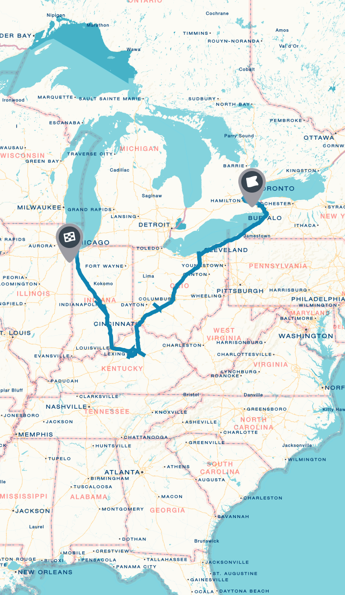 toronto to chicago on | Road trip planner, United states map ... on ontario real estate map, ontario counties map, ontario travel map, ontario election map, ontario idaho map,