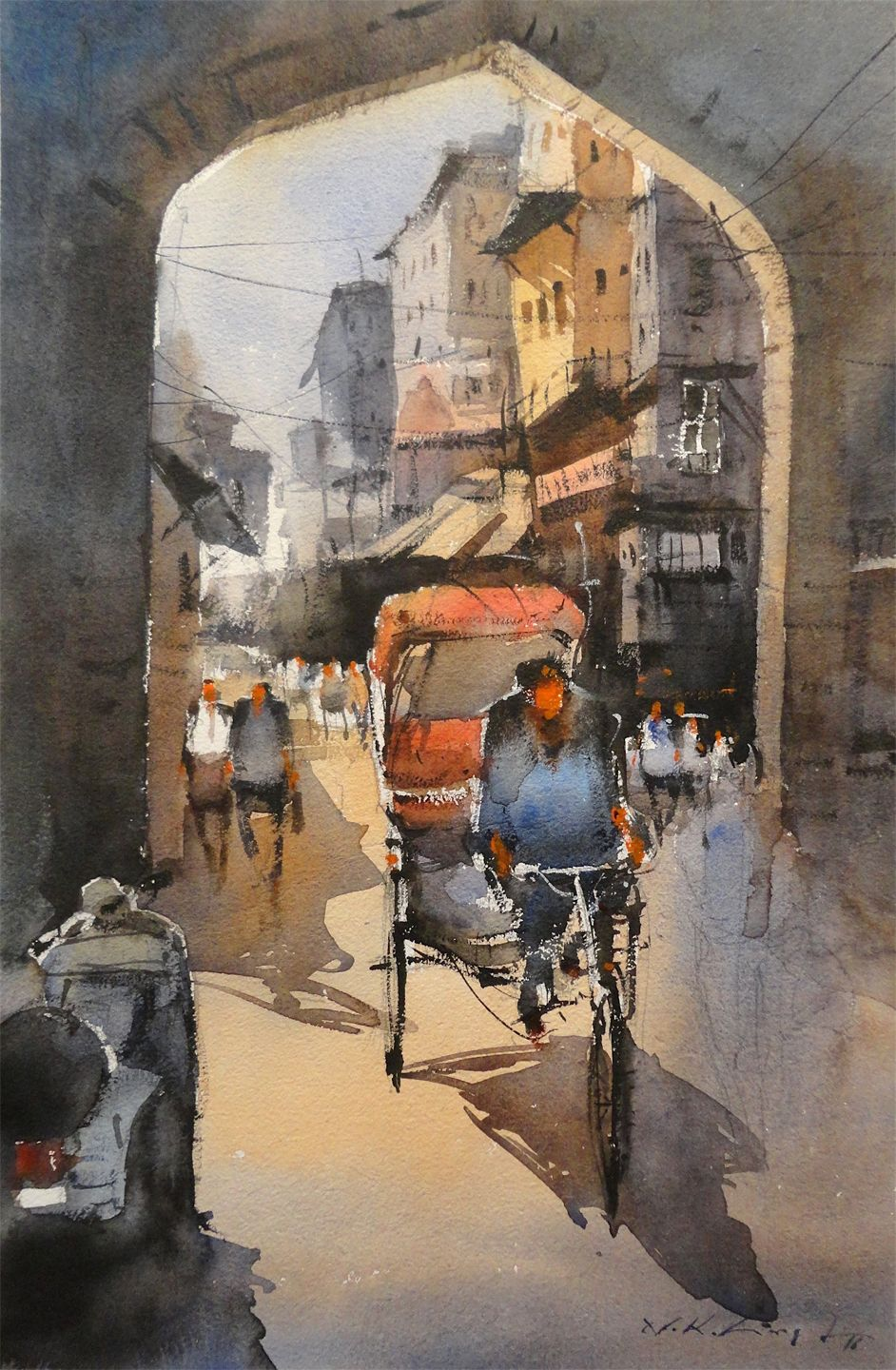 Watercolour painting of famous indian watercolour artist nitin singh