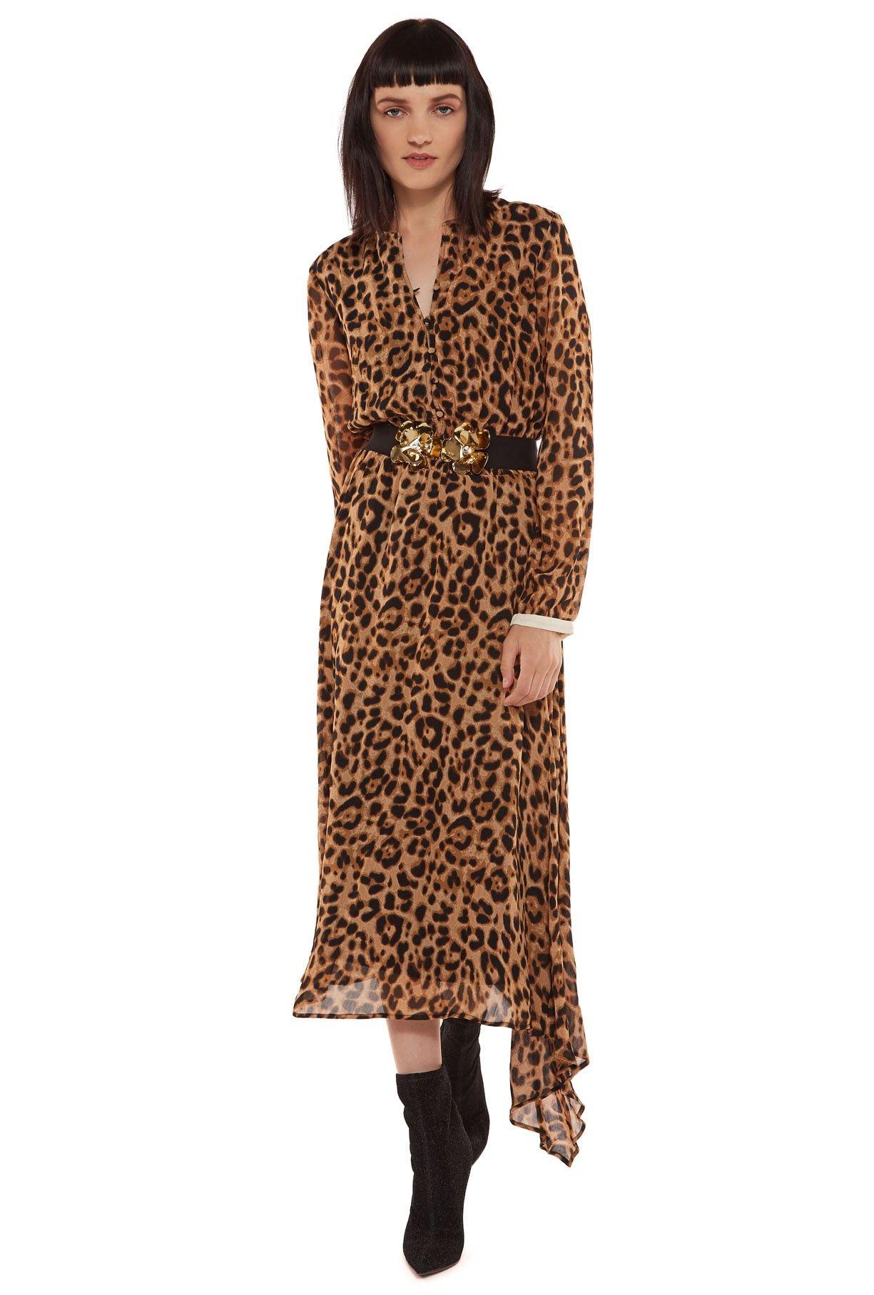 Midi Print Dress Essentiel Eu In Leopard Store Antwerp l3FK1cTJ