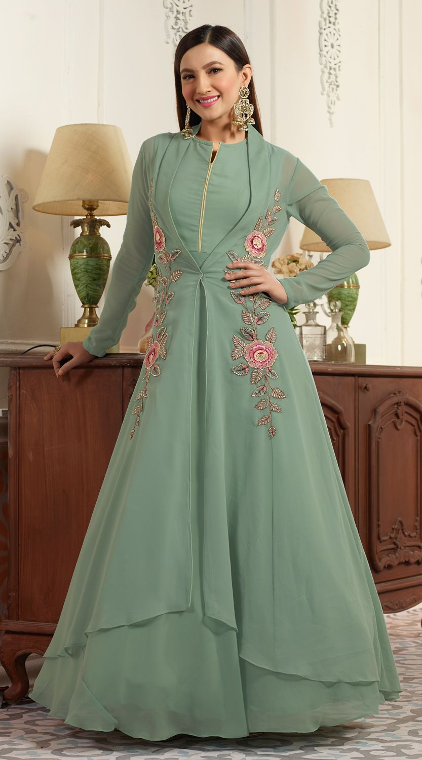 9cb6990328 Buy Graceful Green Partywear Designer Embroidered Faux Georgette Anarkali  Suit online India, Best Prices, Reviews - Peachmode