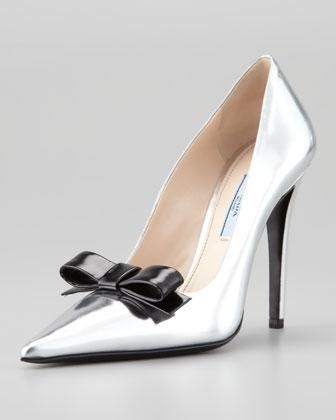 Prada Metallic Bow Pumps perfect cheap online c6a6f8H