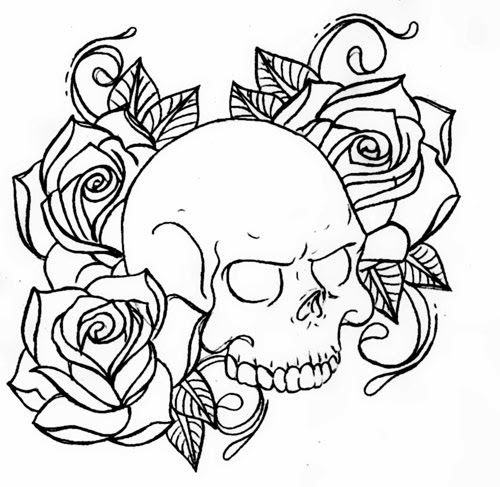 Skull And Roses Skull And Rose Drawing Skull Coloring Pages Skull Drawing Tattoo