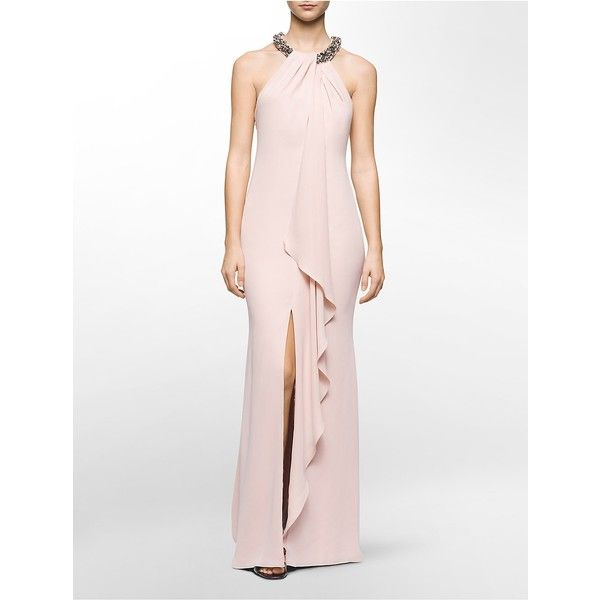 Calvin Klein Womens Jeweled Halter Draped Gown Found On Polyvore
