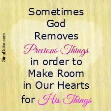 Sometimes we may have a painful loss that God uses to make room in our hearts for His plans in us.  Click or go to GinaDuke.com