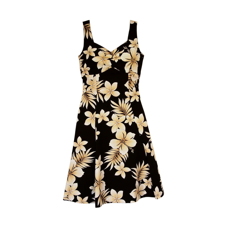 Beachcomber Black Hawaiian Sundress   #sundress #hawaiiansundress #floralsundress #alohadress #floraldress #hawaiiandress