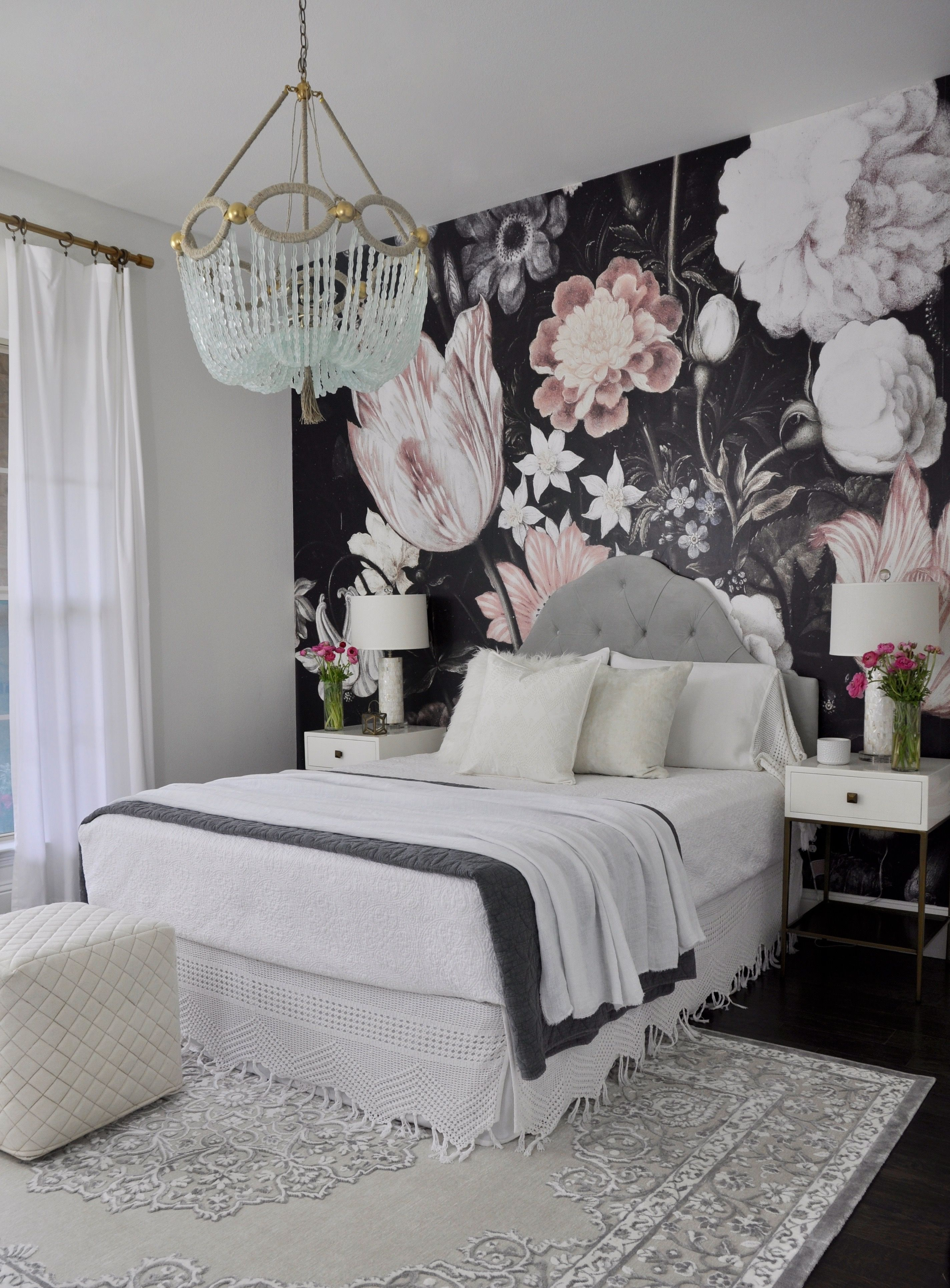 Beautiful Guest Bedroom With Floral Wallpaper Remodel Bedroom