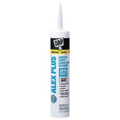 DAP Alex Plus 10.1 oz. White Acrylic Latex Caulk Plus Silicone ...