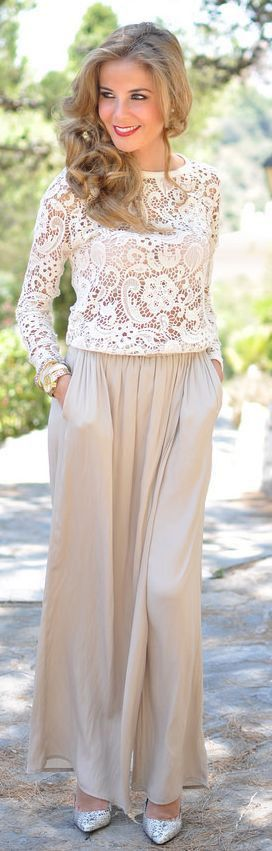 3baf2e2bae Wear a lace shirt with your palazzo pants for a pretty