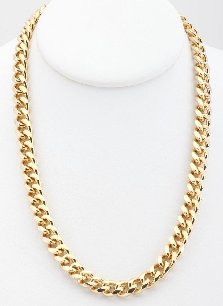 2f113d2e6130b Details about 18K Gold Plated Curb Cuban Chain Necklace 9mm Warranty ...